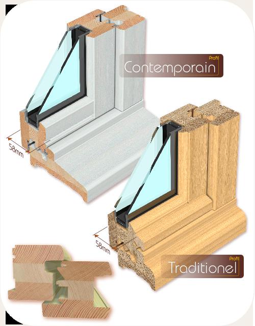 AVM Menuiseries et fenêtres bois 58mm
