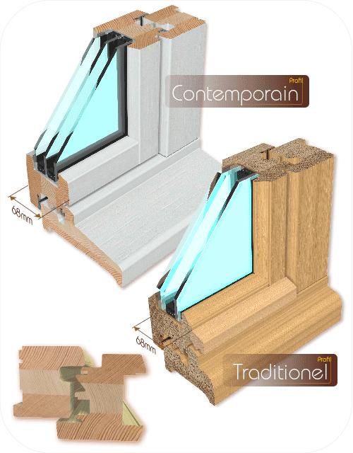 AVM Menuiseries et fenêtres bois 68mm